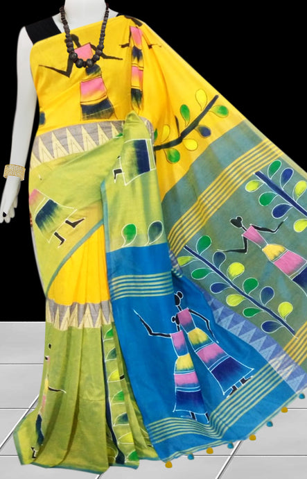 Yellow Color  Hand Paint Madhyamani Saree