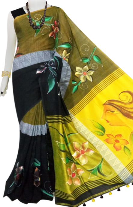 Black & Yellow Color  Hand Paint Madhyamani Saree