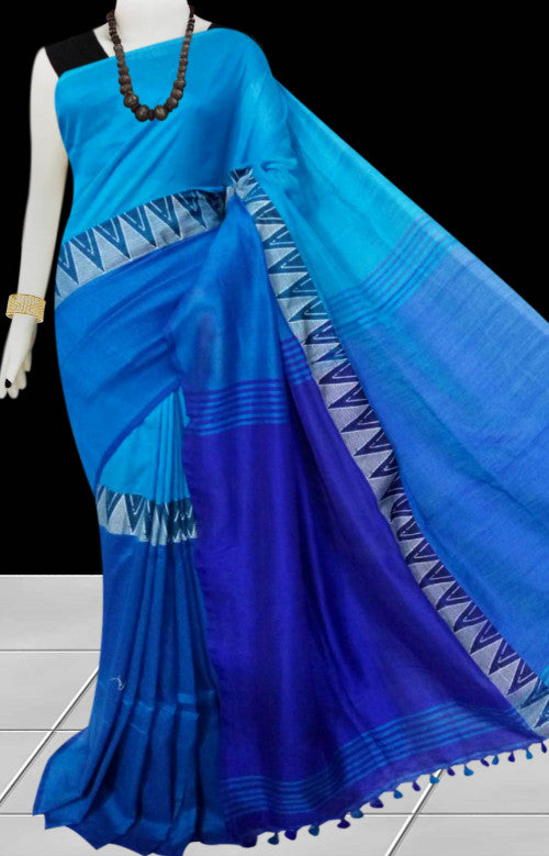 Multi color cotton hand finished saree in a smart color combination with pom-pom work