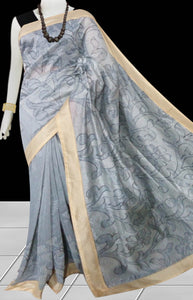 Gray Color Kantha stitch design on Chanderi silk Saree