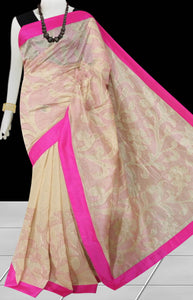 Cream & Pink Color Kantha stitch design on Chanderi silk Saree