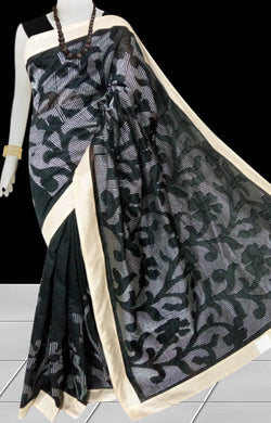 Black Color Kantha stitch design on Chanderi silk Saree