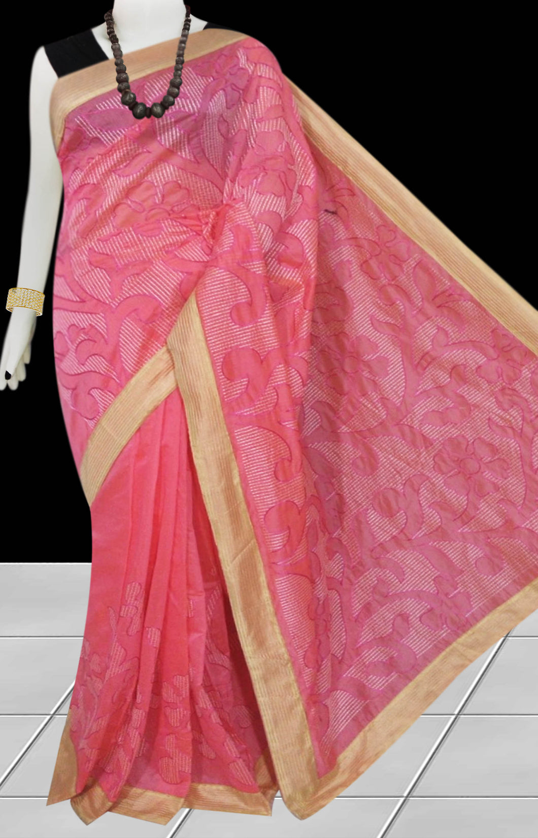 Pink Color Kantha stitch design on Chanderi silk Saree