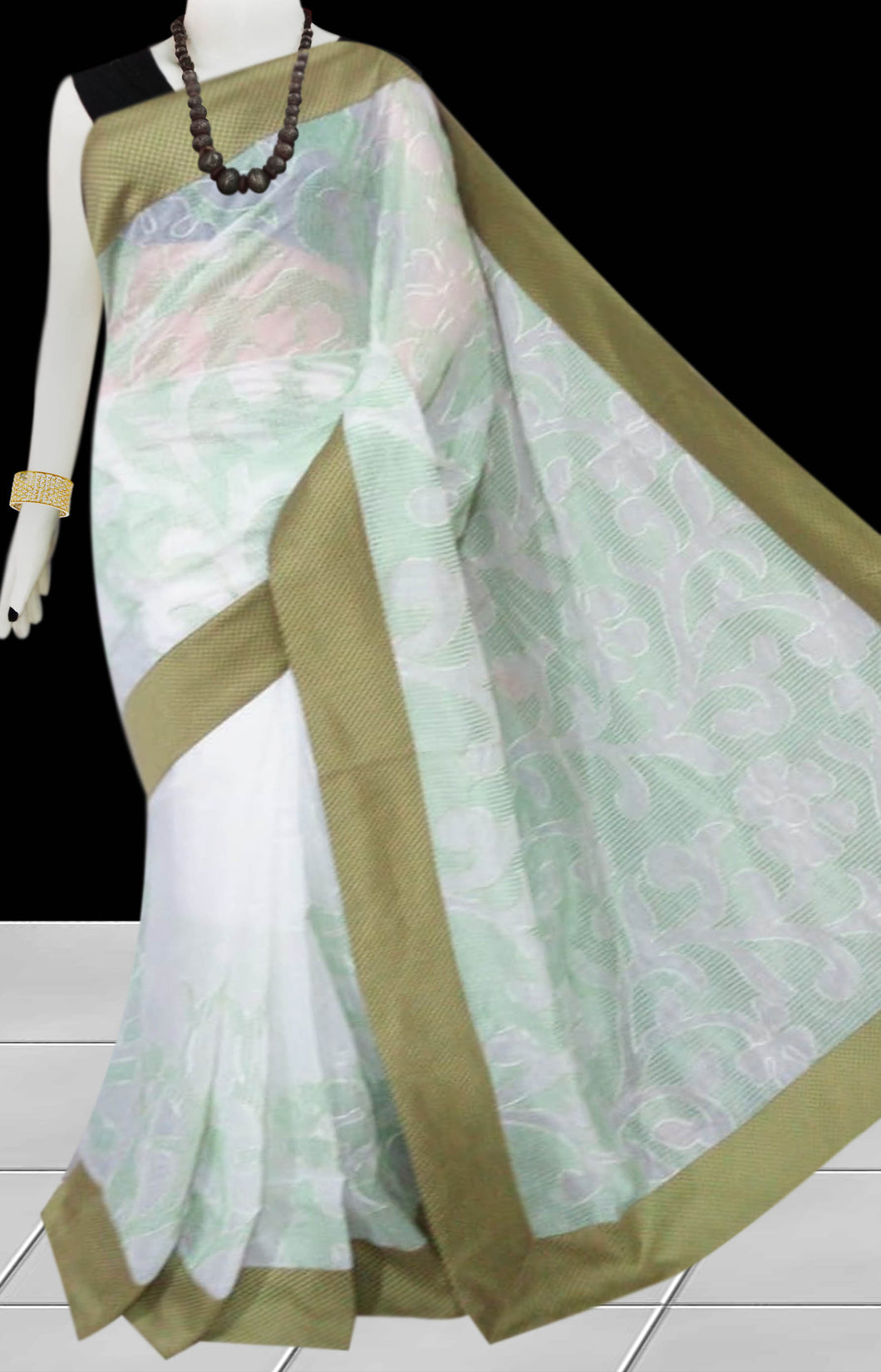 White & Beige Color Kantha stitch design on Chanderi silk Saree