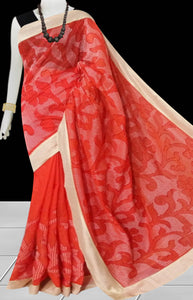 Red Color Kantha stitch design on Chanderi silk Saree