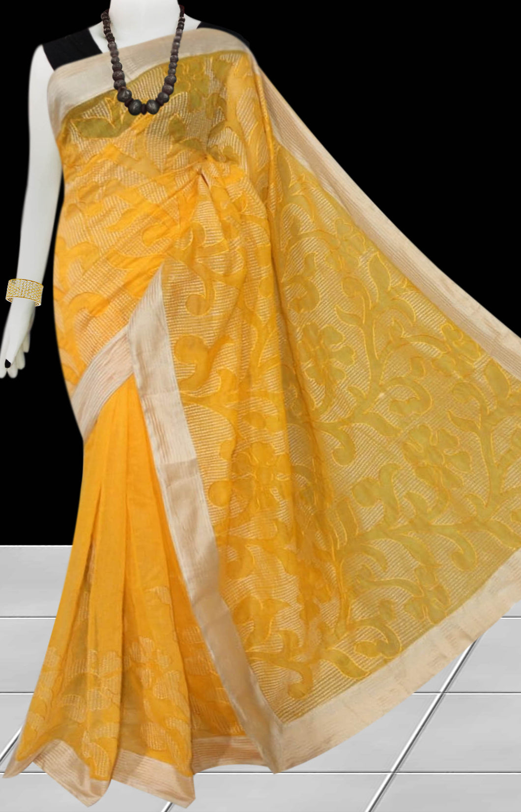 Yellow Color Kantha stitch design on Chanderi silk Saree