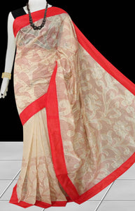 Beige & red Color Kantha stitch design on Chanderi silk Saree