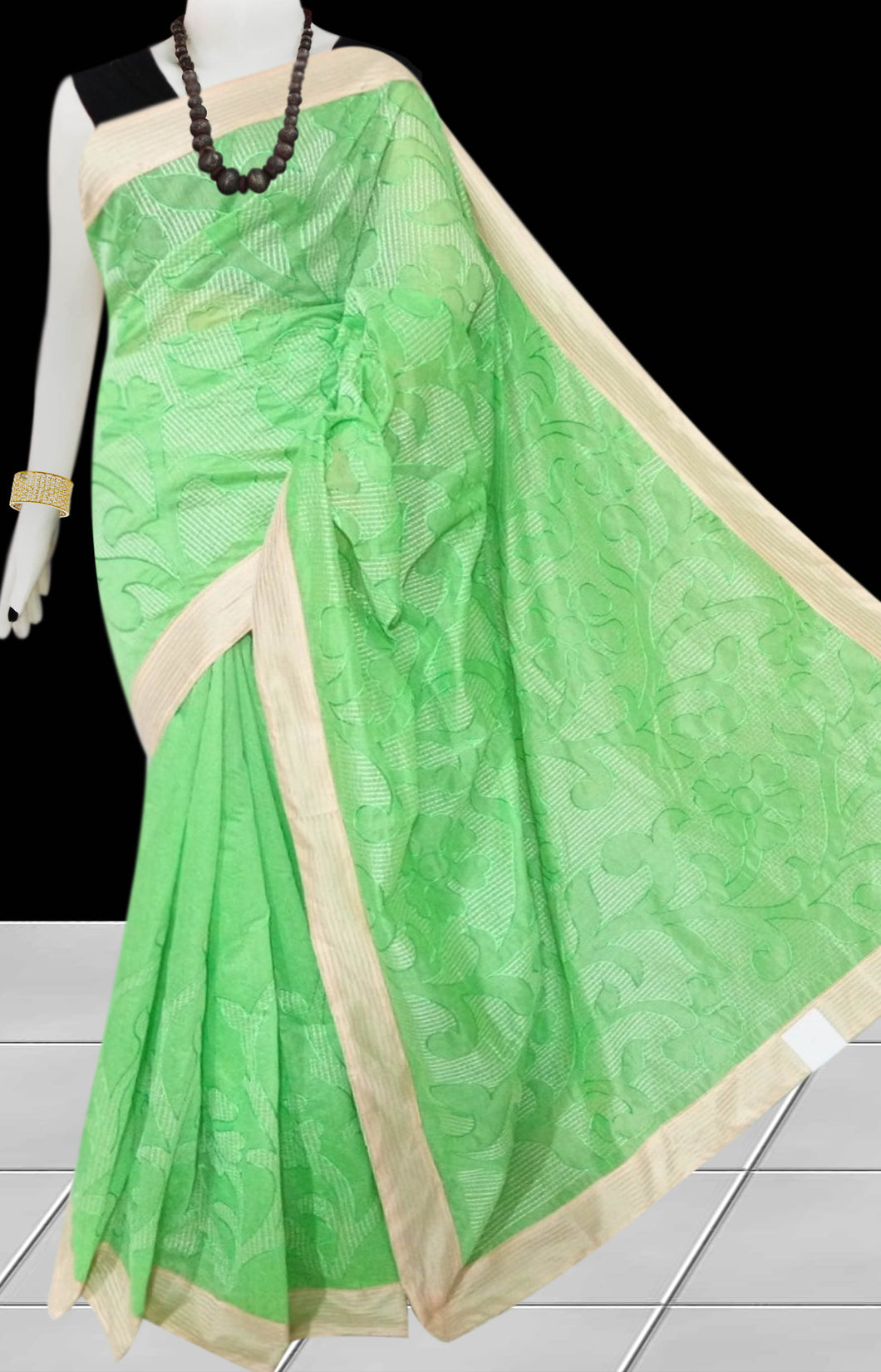 Beige & light green Color Kantha stitch design on Chanderi silk Saree