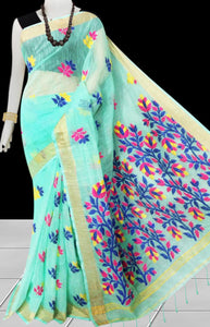 Cyan color base silk slab cotton handfinished saree, featured with full body jamdani work