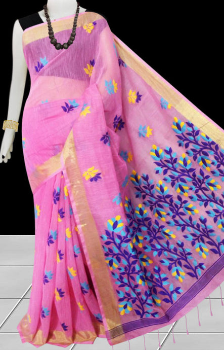 Pink color base silk slab cotton handfinished saree, featured with full body jamdani work