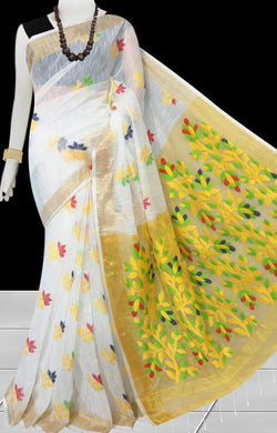 White Color Base With Yellow Pallu Silk Slab Cotton Handfinished Saree