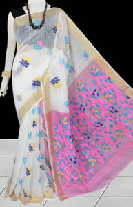 White color base silk slab cotton hand-finished saree