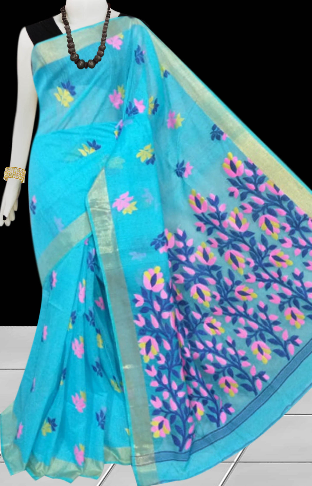 Sky Blue color base silk slab cotton hand-finished saree