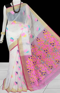White & Baby Pink color base silk slab cotton hand-finished saree