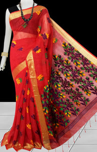 Red color base silk slab cotton handfinished saree, featured with full body jamdani work