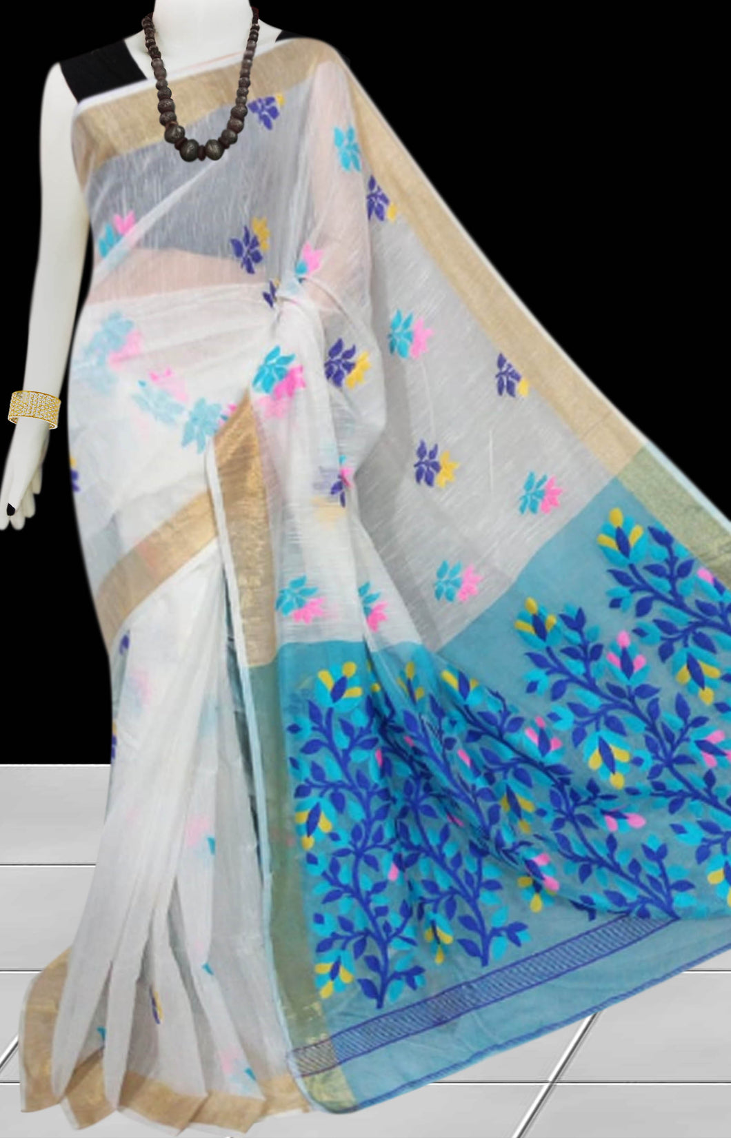 White & Sky Blue color base silk slab cotton hand-finished saree