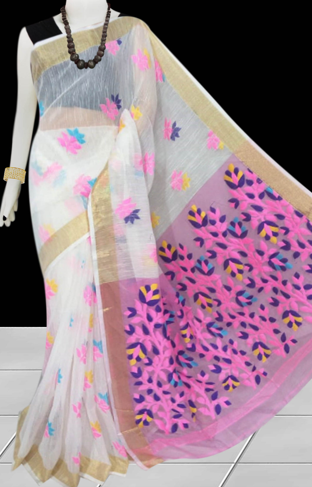 White & ark baby pink color base silk slab cotton hand-finished saree