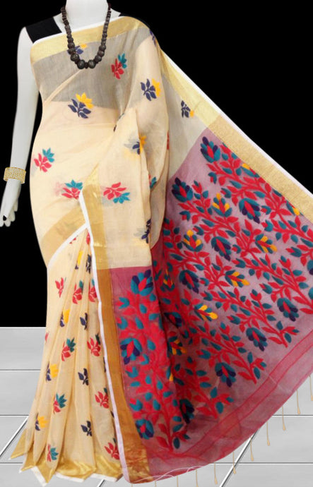 Cream color base silk slab cotton handfinished saree, featured with full body jamdani work