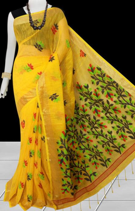Yellow color base silk slab cotton handfinished saree, featured with full body jamdani work