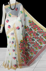 White color base silk slab cotton handfinished saree, featured with full body jamdani work