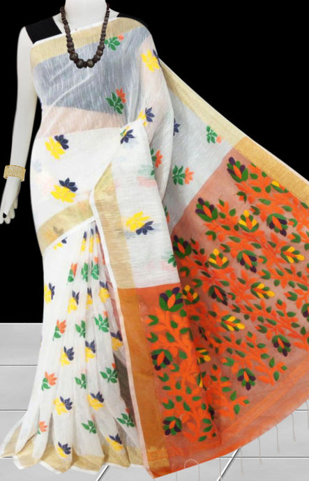 White color base with orange pallu silk slab cotton handfinished saree, featured with full body jamdani work