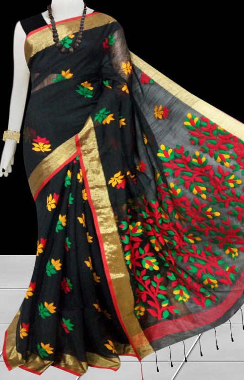 Black color base silk slab cotton handfinished saree, featured with full body jamdani work