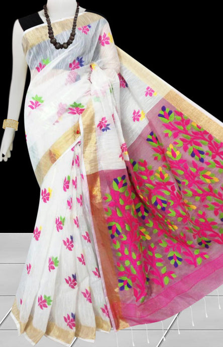 White color base with pink pallu silk slab cotton handfinished saree, featured with full body jamdani work