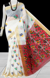 White color base with red pallu silk slab cotton handfinished saree, featured with full body jamdani work