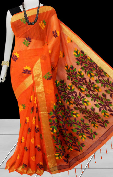 Orange color base silk slab cotton handfinished saree, featured with full body jamdani work