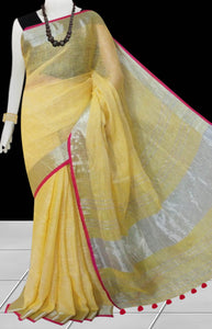 Light yellow & Silver Color Linen Handloom saree