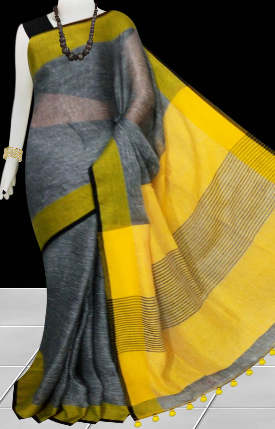 Grey & Yellow Color Handloom Linen Saree