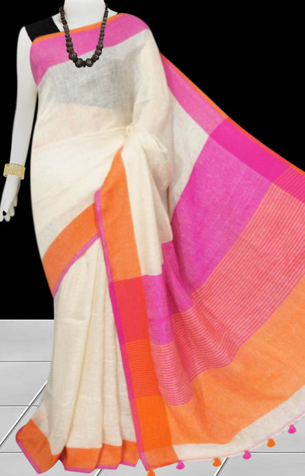Cream & Pink Color Handloom Linen Saree