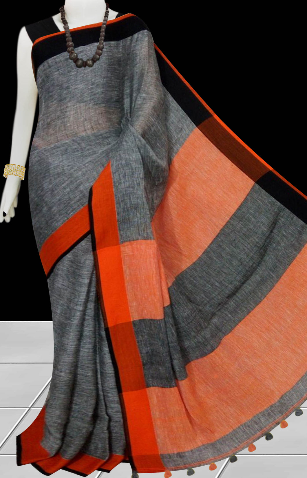 Dark Grey & Orange Color Handloom Linen Saree