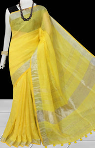 Yellow Color Handloom Linen Saree