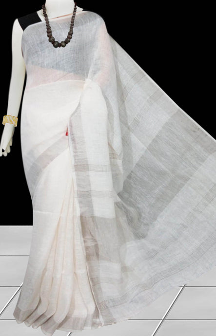White Color Handloom Linen Saree
