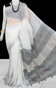 White & Black Color Handloom Linen Saree