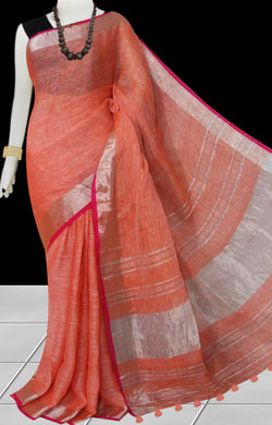 Carrot Red Color Linen Handloom saree