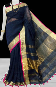 Black & Golden Color Linen Saree