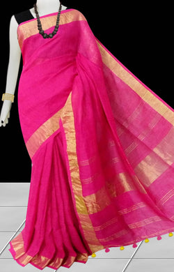 Rani Color Linen Handloom saree