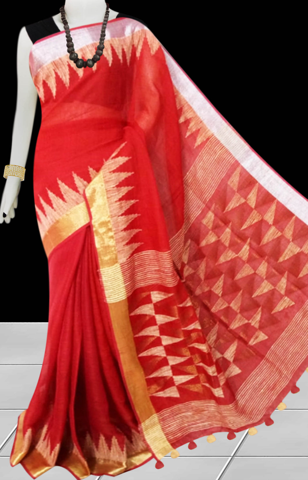 Pure Linen Coral Red color saree