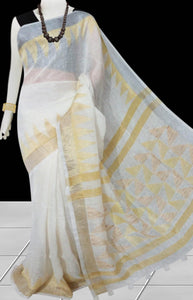 Pure Linen White color saree