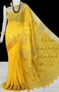 Yellow Color pure Linen Saree