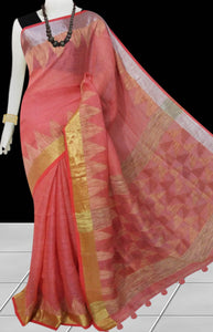 Pitch Color Pure Linen Saree