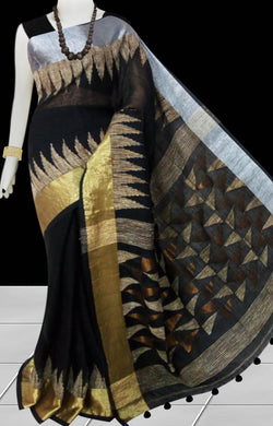 Black Color Pure linen Saree