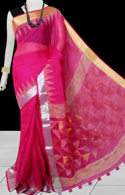 Pink Color Pure Linen Saree