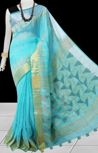 Lite Blue Color Pure Linen Saree