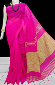 Trendy dark pink color soft moklin handmade saree