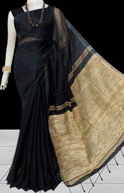 Dazzling black color soft moklin handmade saree
