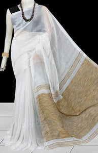 Graceful white color soft moklin handloom saree with Ghicha work