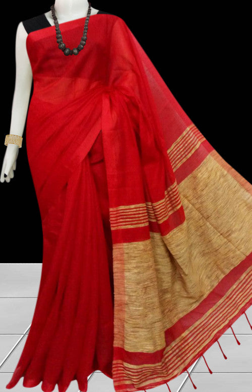 Soft moklin handloom saree in charming red color with ghicha work